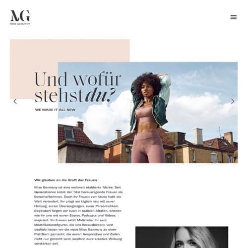 Designstuuv Referenzen MissGermany Website Slider