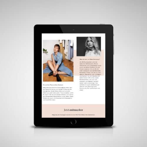 Designstuuv Referenzen MissGermany Website Tablet