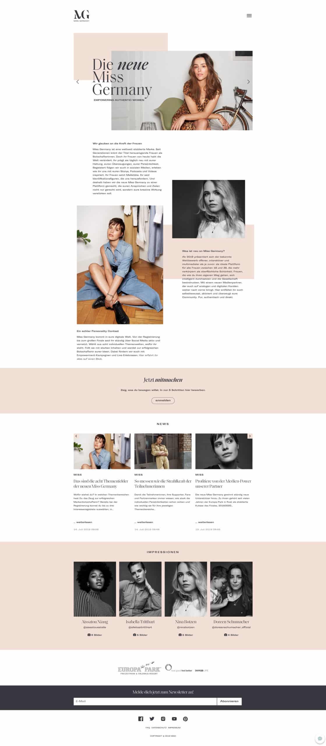 Designstuuv Referenzen MissGermany Website PC