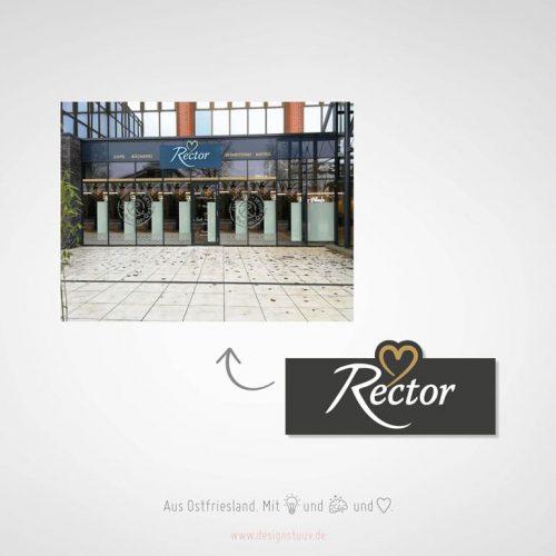 Designstuuv Referenzen Rector Leuchtreklame mit Fräsbuchstaben inkl. Fensterbeschriftung