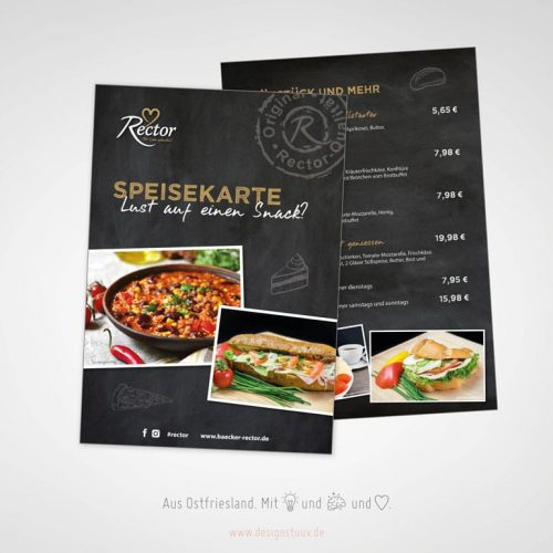 Designstuuv Referenzen Rector Speisekarte Carolinenhof