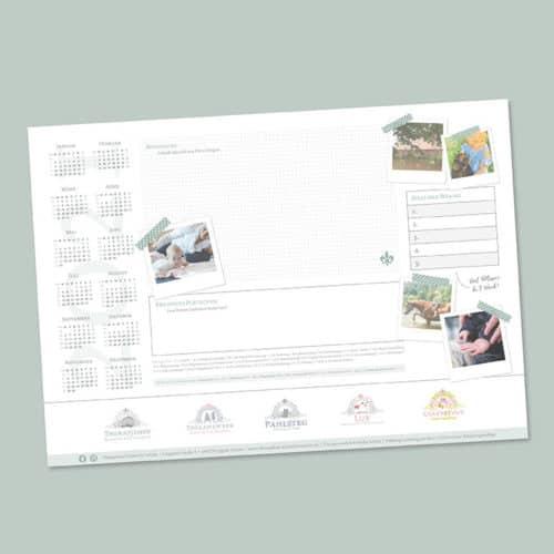 Designstuuv Werbeagentur Referenz Therapiehof Schritt für Schritt Schreibtischunterlage