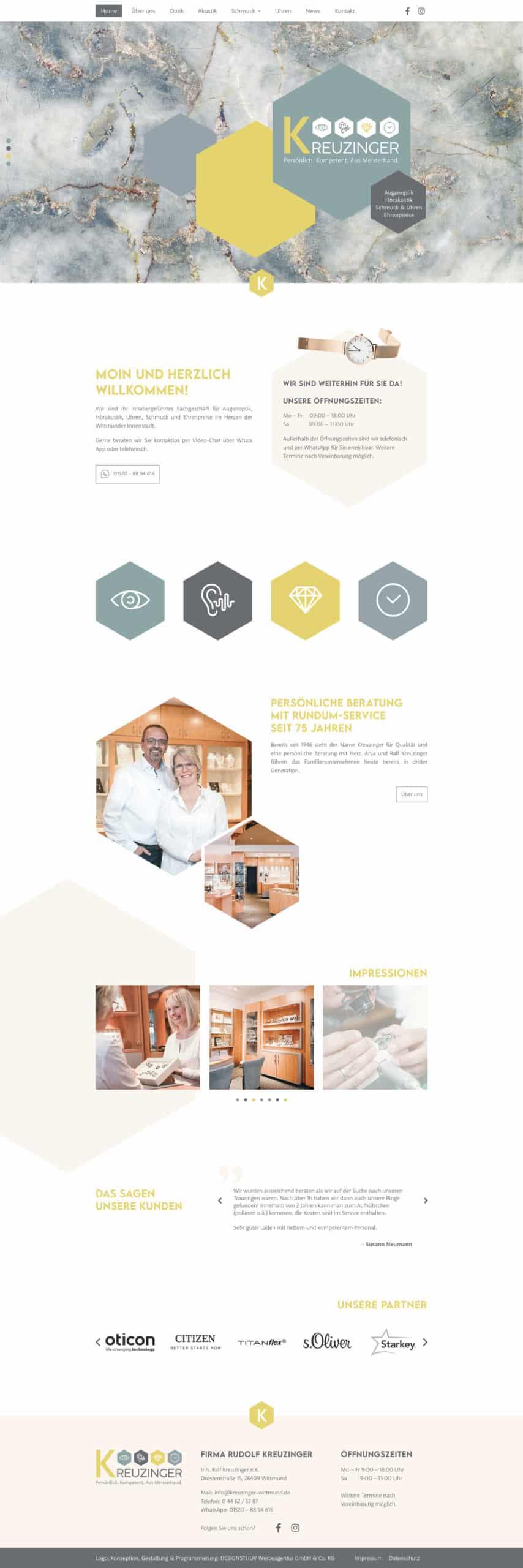 Designstuuv Referenzen Kreuzinger Website Ansicht Desktop